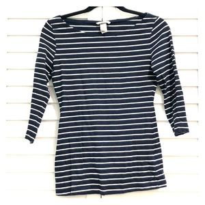 Scoop neck blue and white strips top